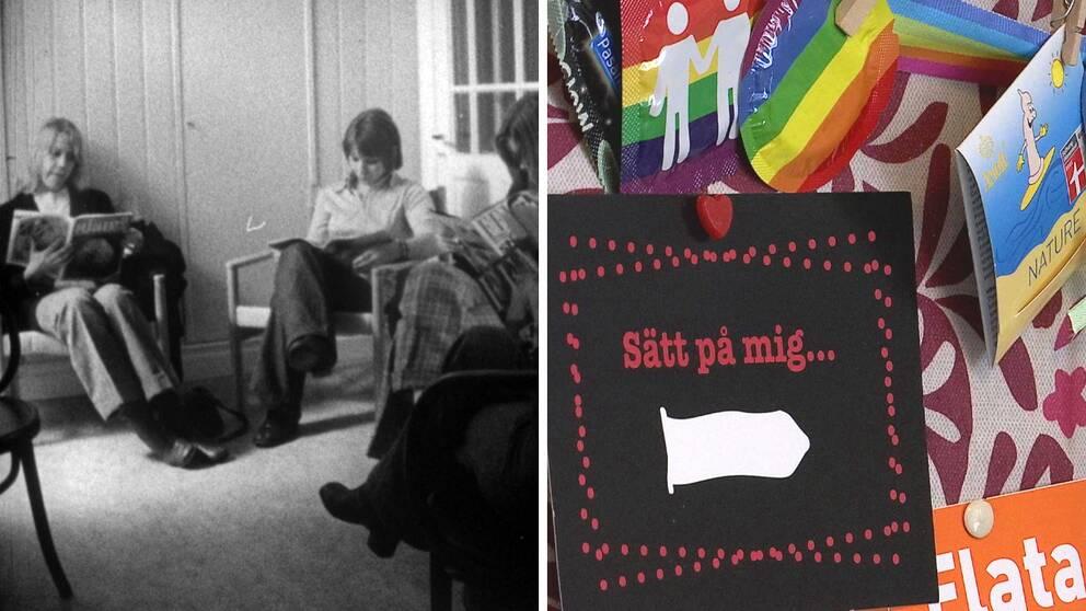 Väntrum på ungdomsmottagningen i Borlänge på 1970-talet. Anslagstavla med kondomer.