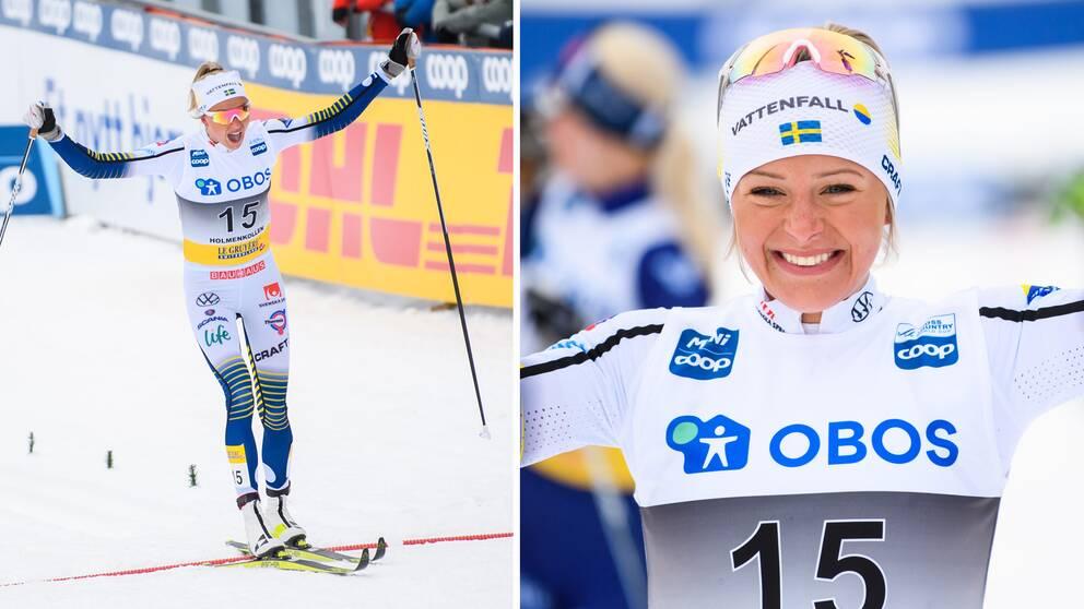Frida Karlsson jublar efter segern i Holmenkollen.