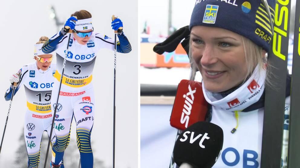 Frida Karlsson berättar om hur hon om Ebba Andersson hjälptes åt för att jaga ikapp Therese Johaug.