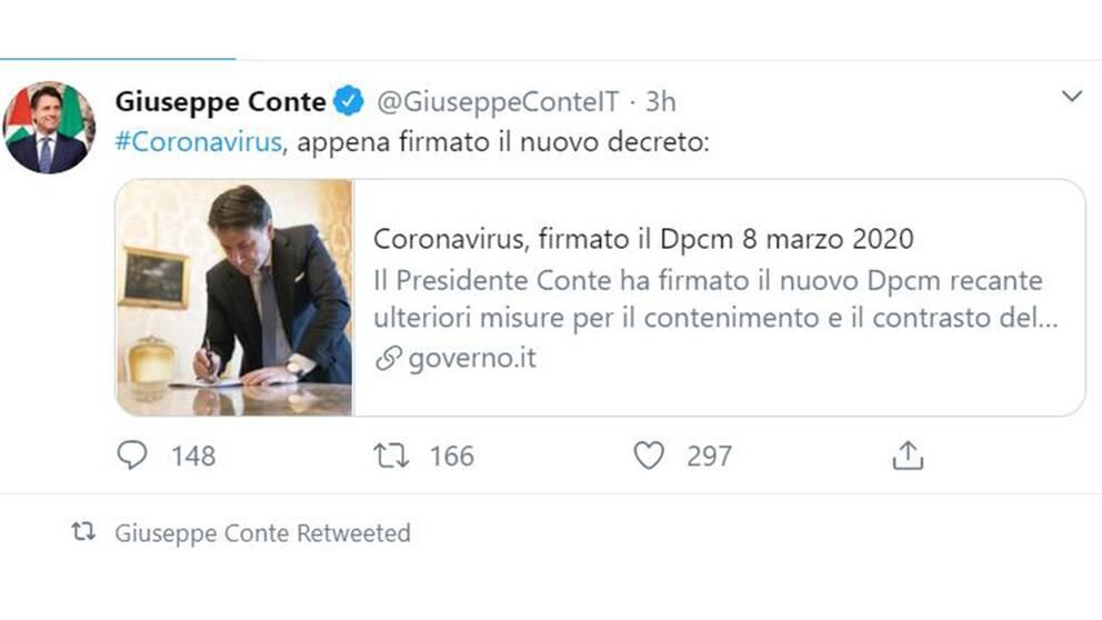Premiärminister Giuseppe Contes Twitterkonto
