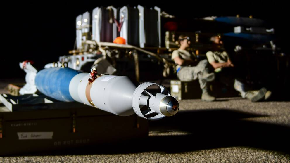 En GBU-12 Paveway laserstyrd bomb på flygbasen Davis-Monthan i Arizona USA i april 2019.