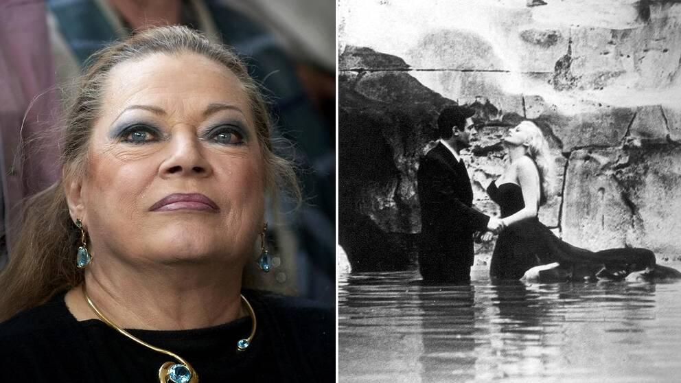 Legendariska filmstjärnan Anita Ekberg klassiska scen i filmen Det ljuva livet.