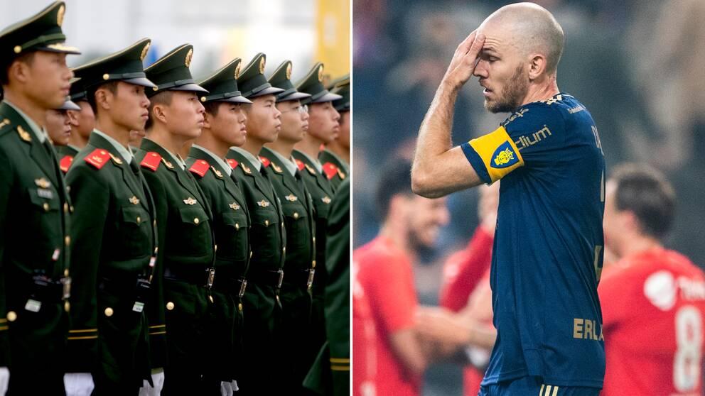 Kinas militär står uppställda till vänster. Marcus Danielson till höger.