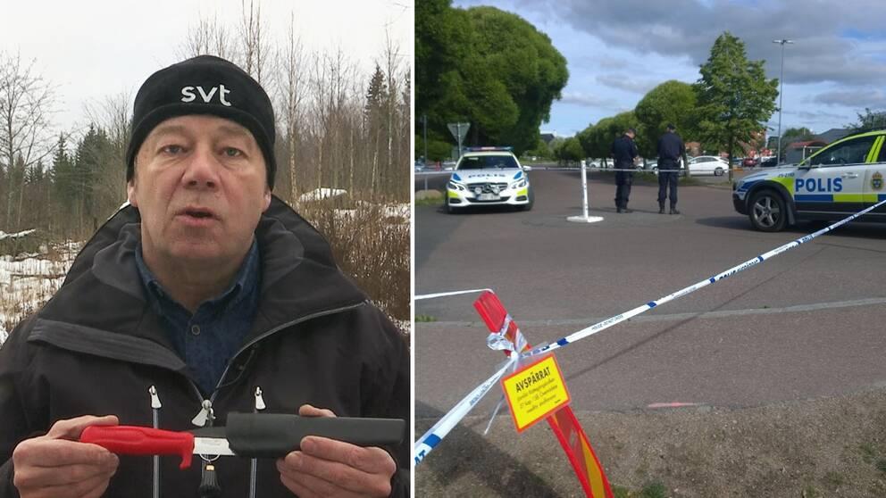 bild på reportern utomhus på vintern, han visar en morakniv; samt bild på polisavspärrning, tejp och polisbilar i Borlänge sommartid.