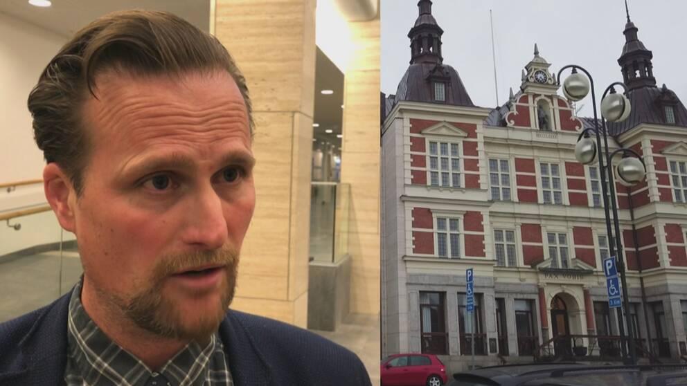 Carl-Johan Sonesson (M) och regionhuset i Kristianstad