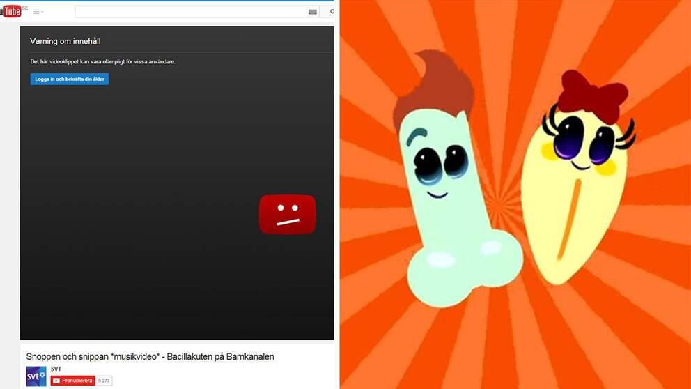 """Youtube sätter åldergräns på SVT:s snipp- och snoppvideo: """"Olämpligt för vissa."""""""