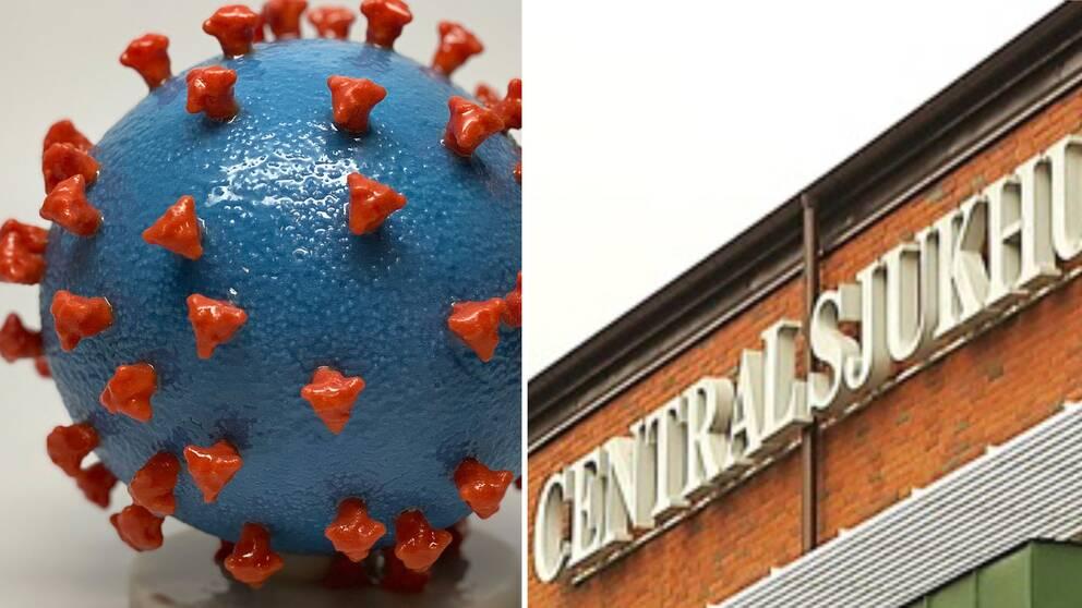 Montage. Modell av ett coronavirus. Fasaden till centralsjukhuset i Karlstad.