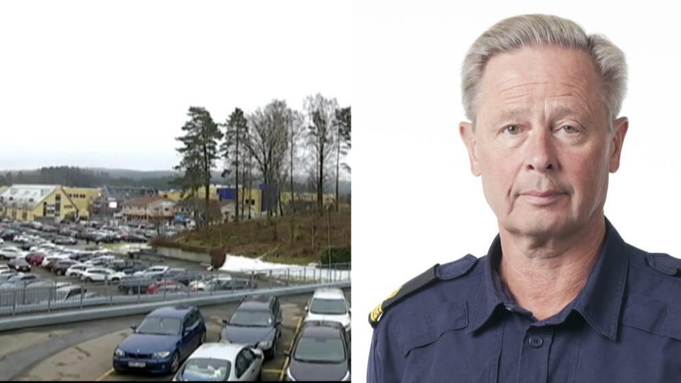 Parkeringsplats med bilar vid Gekås i Ullared, samt en bild på en polisman som heter Thomas Fuxborg
