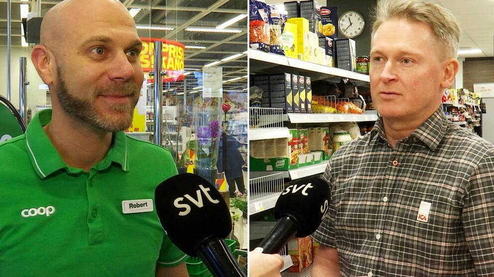 Två bilder. Robert Källberg i grön tröja till vänster. Jan-Christer Nilsson i rutig skjorta till höger.