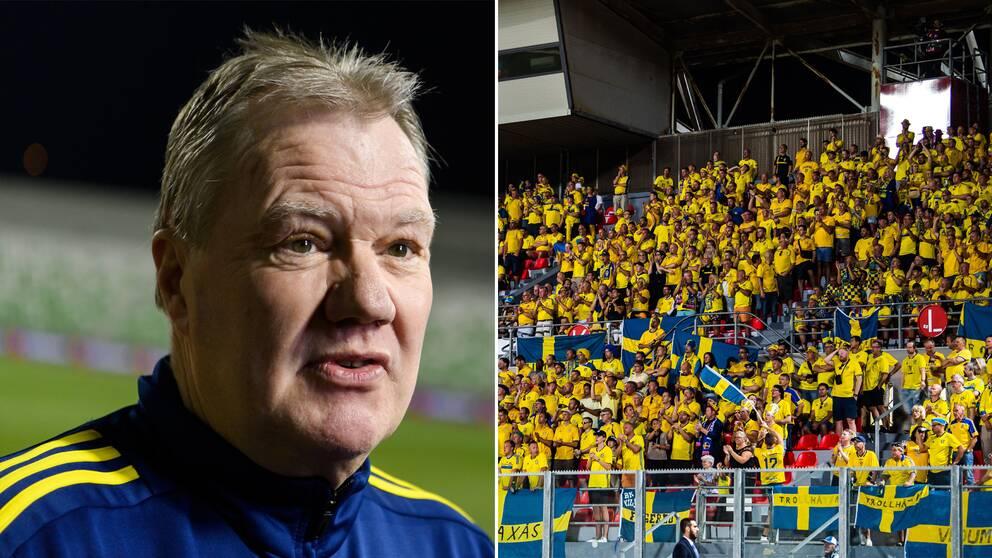 Karl-Erik Nilsson till vänster. Svenska fans till höger.