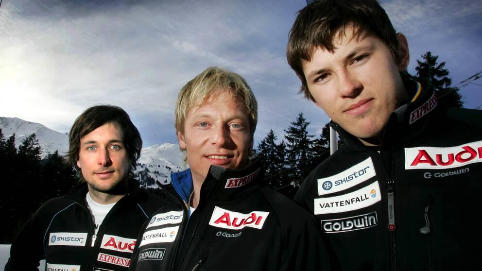 André Myhrer under början av sin karriär. Här 2005 tillsammans med Markus Larsson och Johan Brolenius.