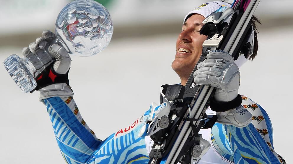 André Myhrer efter vinsten i slalomcupen 2012.