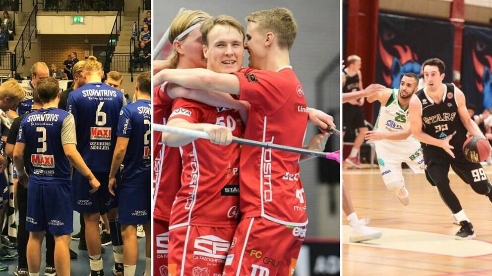 Handbollsspelare, innebandyspelare och basketspelare i tre olika bilder bredvid varandra.