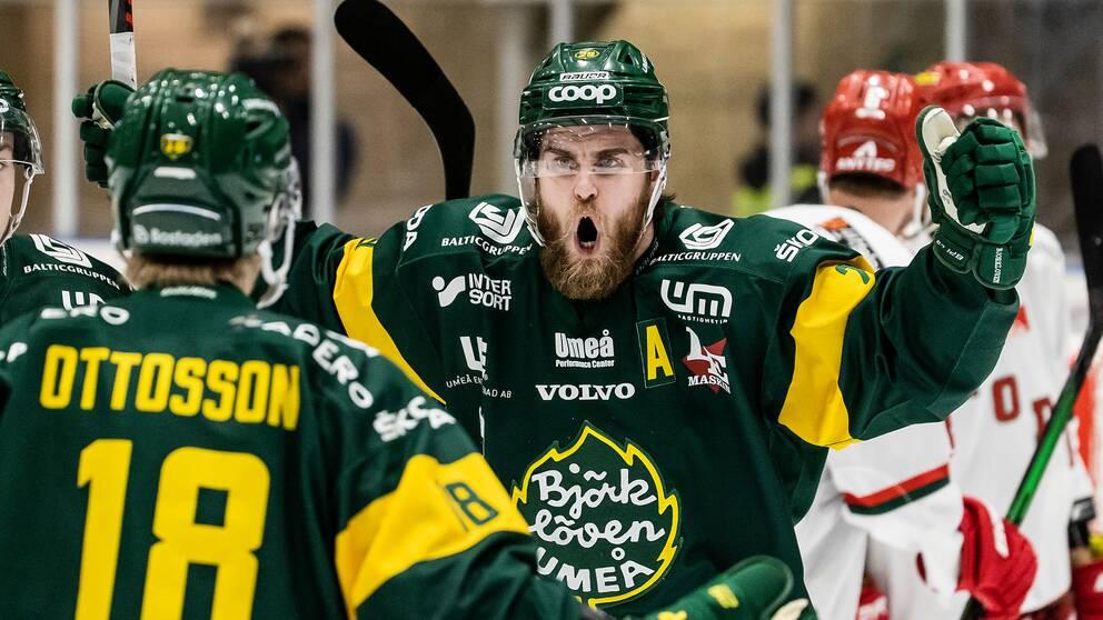 Björkövens Alexander Wiklund jublar efter ett mål i den första hockeyallsvenska finalen mot Modo.
