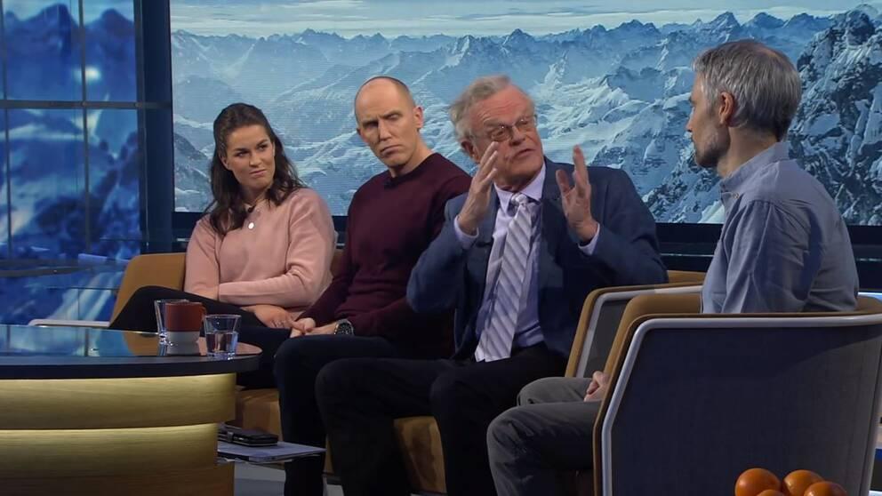 """Diskussion i """"Vinterstudion"""" kring coronaviruset och idrott."""