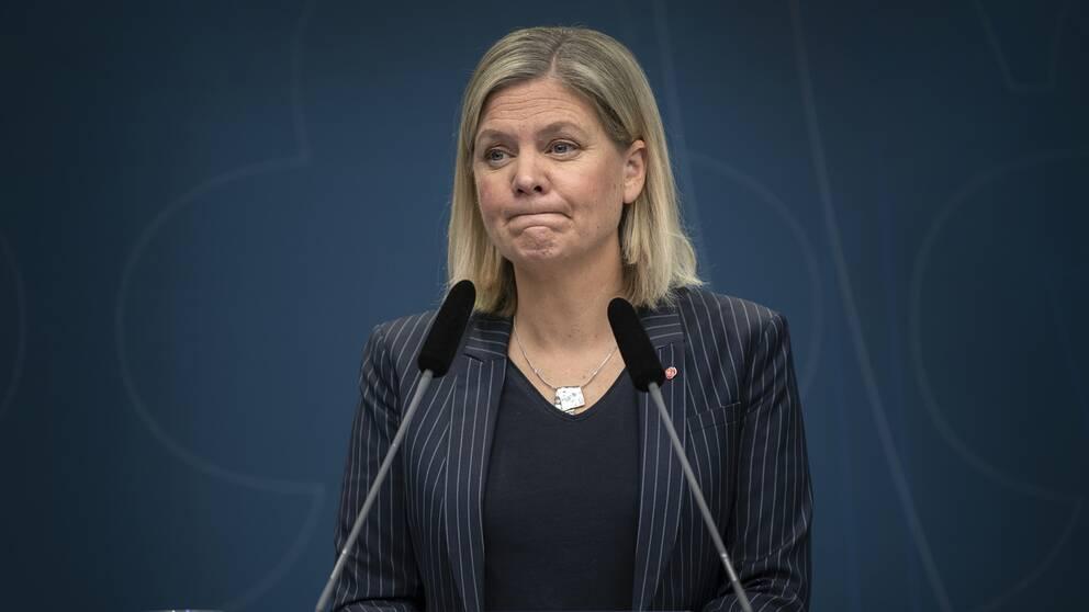 Finansminister Magdalena Andersson (S) under en pressträff om coronavirusets påverkan på ekonomin den fjärde mars.