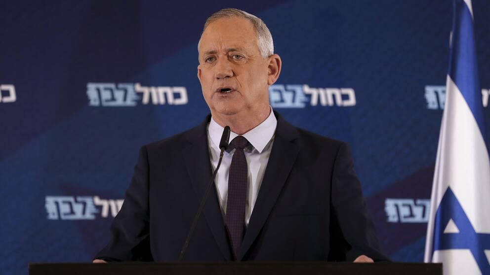 Bild på Benny Gantz, ledare för den mittenorienterade Blåvita alliansen i Israel.