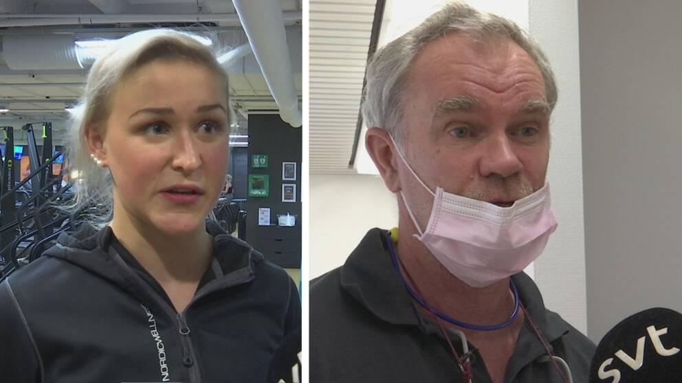 Gymreceptionisten Elin Comnell och tandläkaren Gunnar Bringman har både märkt av corona-virusets effekter på sina verksamheter.