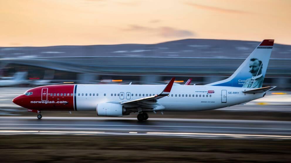 Ett Norwegian-plan lyfter från Gardemoen, Oslo