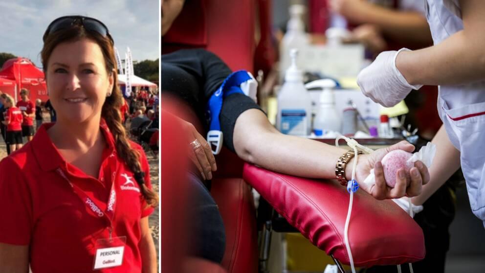 Carina Johansson, avdelningschef på länets blodcentraler och en patient som ger blod.