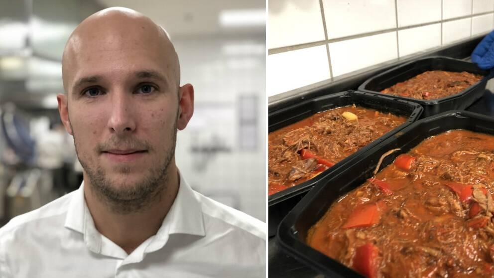 Närbild på en man i vänsterkant. Köttgryta i portionsförpackningar i högerkant.