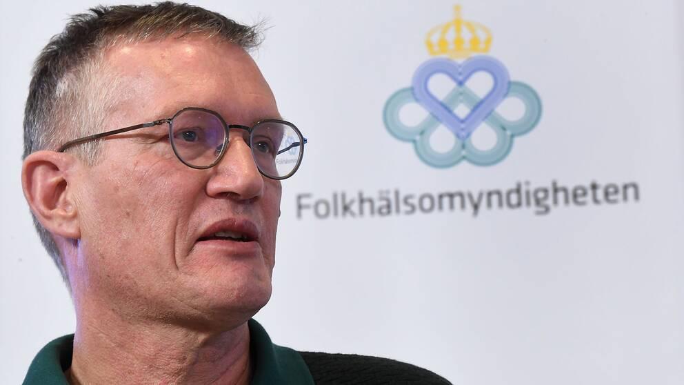 Statsepidemiolog Anders Tegnell vid onsdagens presskonferens på Folkhälsomyndigheten