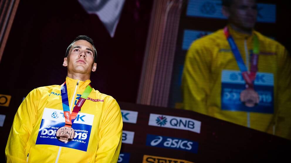 Perspeus Karlström tog VM-brons i Doha. Nu är stora målet OS i Tokyo – men han är skeptisk till om mästerskapet blir av.