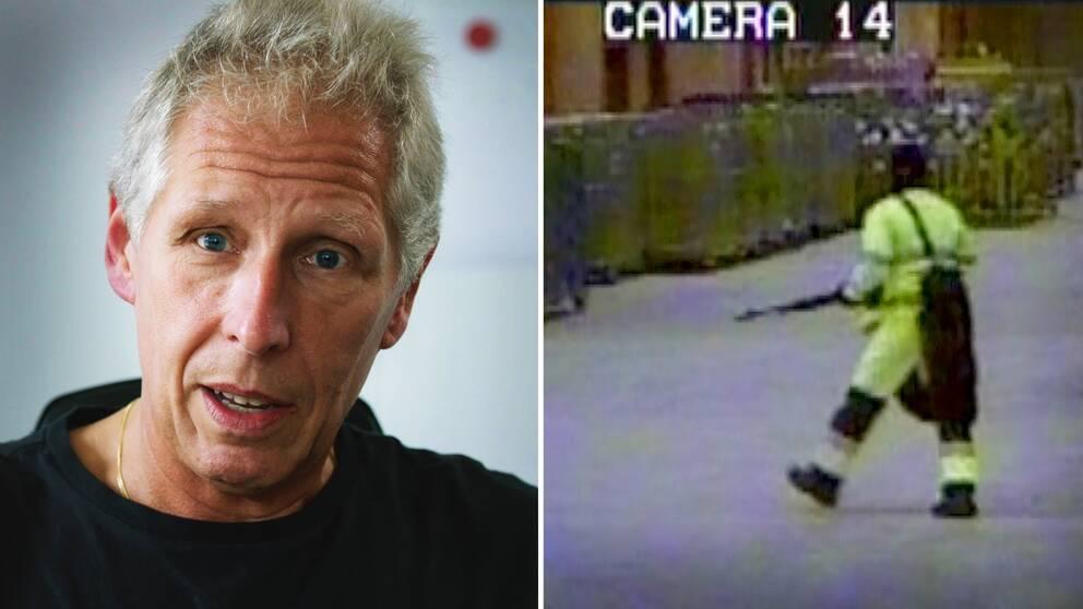 En bild på polisen Peter Kron och en bild på en av postrånarna under rånet på postterminalen i Göteborg 2008.