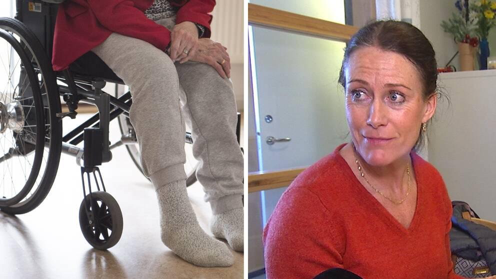Gammal person i rullstol. Kvinna i röd tröja.