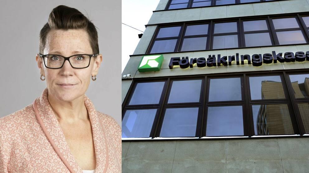 En kvinna med glasögon till vänster och en byggnad till höger med texten Försäkringskassan på fasaden