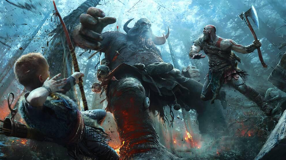 Kratos och Atreus bekämpar nordiska väsen i God of War.