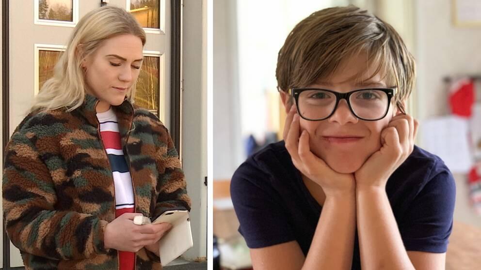 Montage. Blond kvinna tittar ner på sin telefon. Pojke med glasögon ser rakt in i kameran.