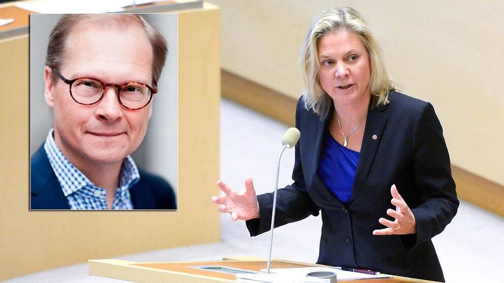 SVT:s inrikespolitiske kommentator Mats Knutson och finansminister Magdalena Andersson (S)