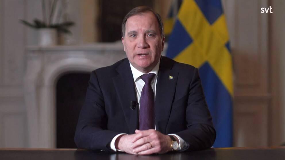 Statsminister Stefan Löfven (S) höll tal till nationen i SVT den 22 mars.