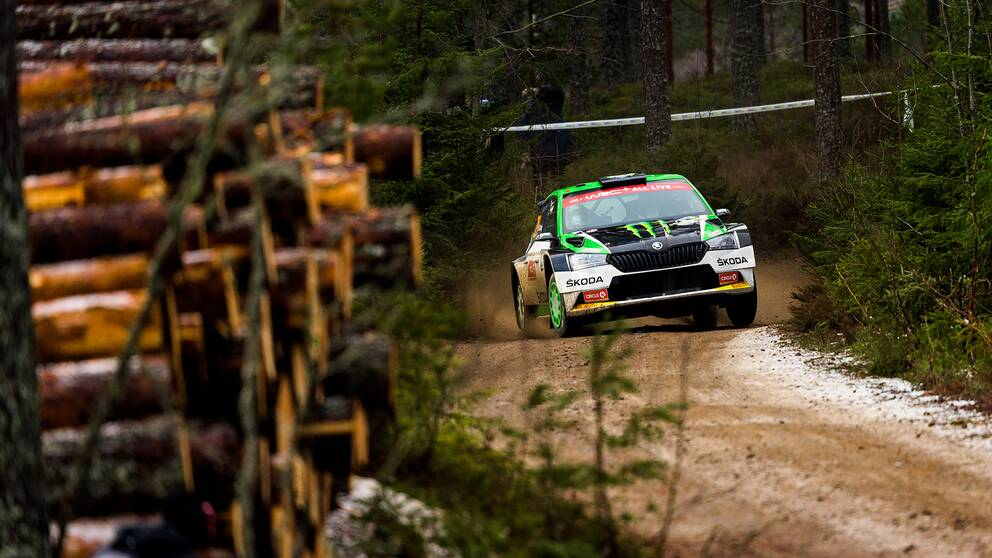 Oliver Solberg under Svenska rallyt 2020. Arkivbild.