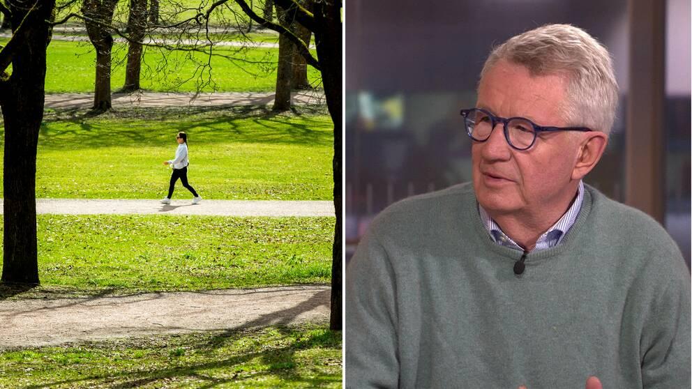 Smittskyddsexperten Johan Giesecke tycker att man kan ta sig ut i vårsolen under hemisoleringen – det är bättre för hälsan om man är försiktig