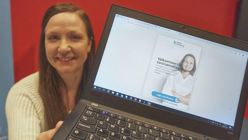 Ida Kedling på Region Gävleborg visar den digitala coronamottagningen.