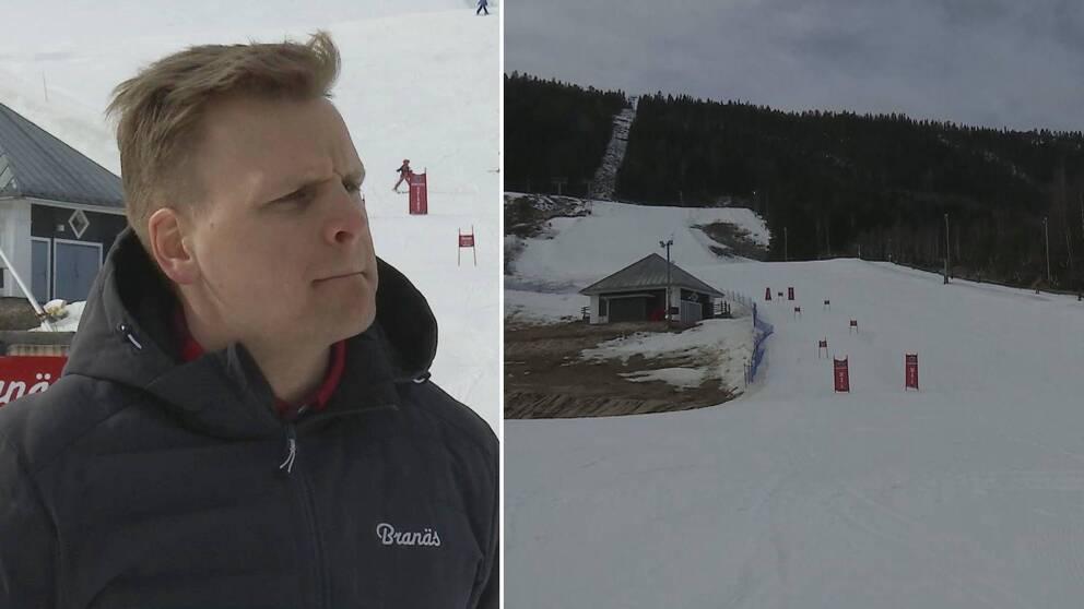 Två bilder. Christoffer Lilja till vänster, en tom slalombacke till höger.