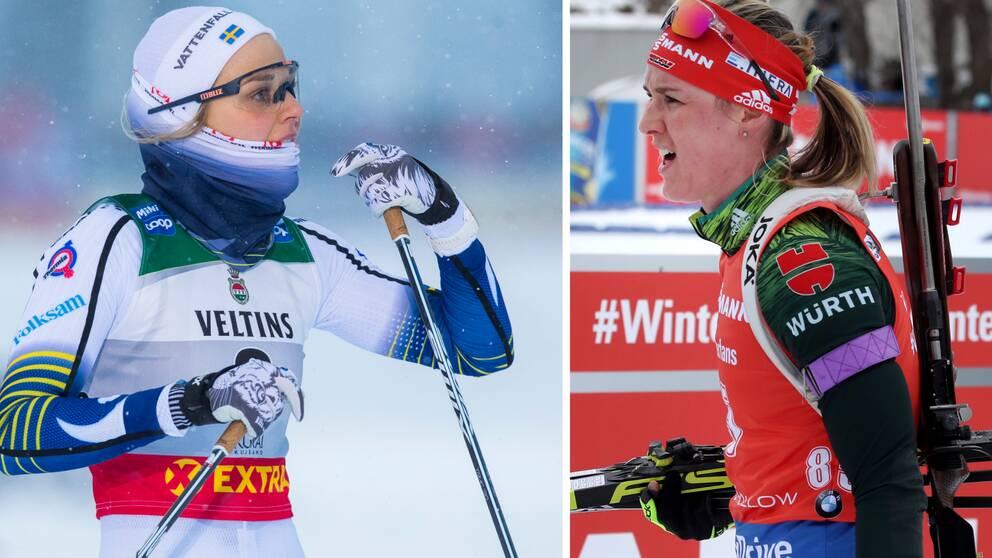 Denise Herrmann (till höger) tror att Stina Nilsson kan bli en bra skidskytt.