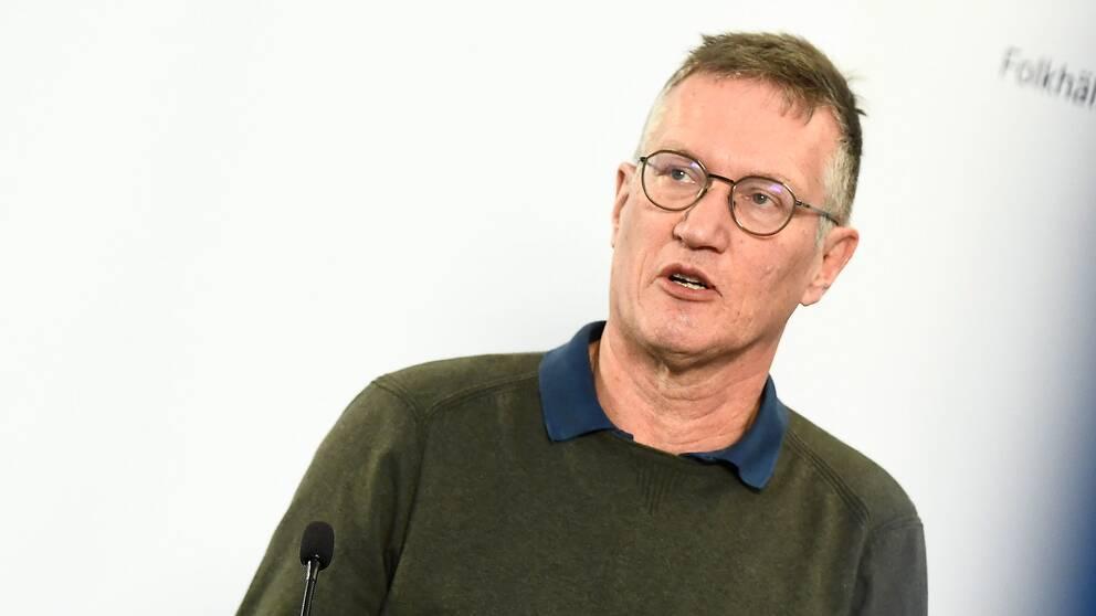 Statsepidemiolog Anders Tegnell, Folkhälsomyndigheten, vid onsdagens pressträff på Folkhälsomyndigheten gällande coronaviruset