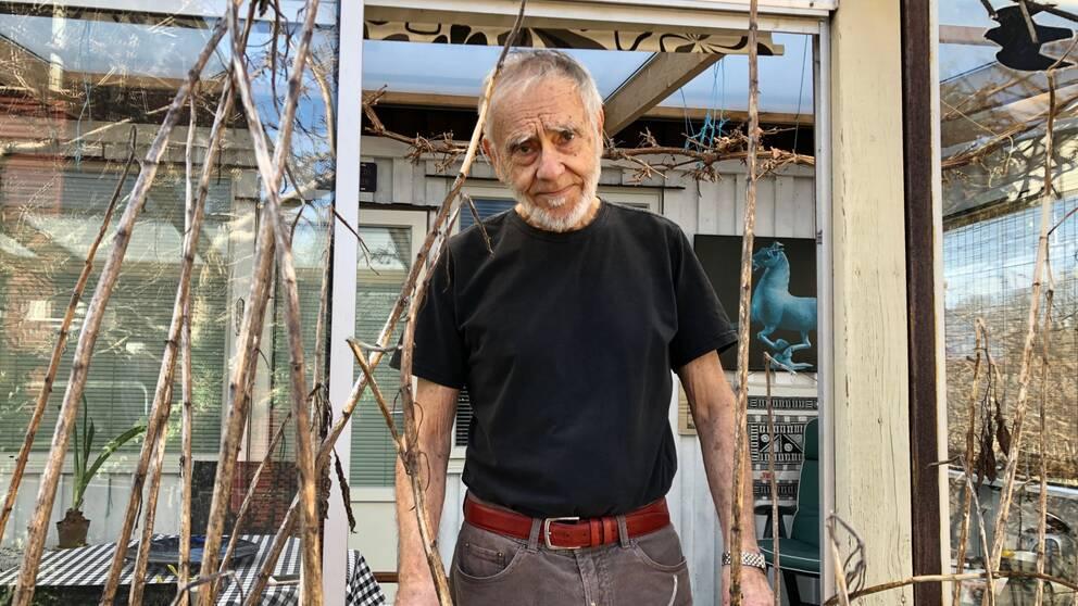 En man står i sitt fönster och tittar ut, han är 81 år, har ljust skägg och ser nedstämd ut.