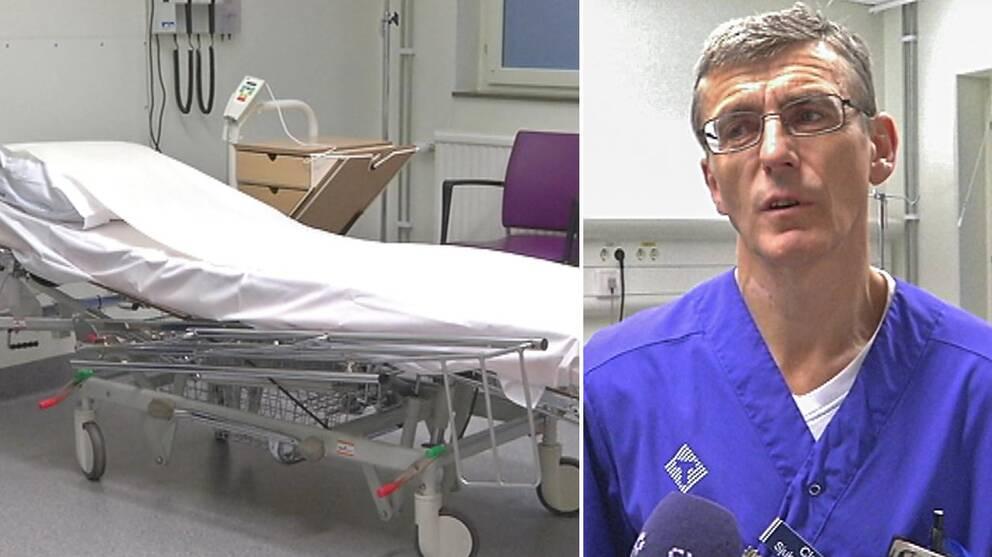 Montage med en bild på en sjukhussäng och en bild på mannen som är verksamhetschef, Clas Hjertqvist.