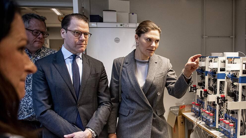 Prins Daniel och kronprinsessan Victoria besökte det nya forskningsprojektet på KTH där man hoppas kunna göra storskaliga analyser om immuniteten hos coronaviruset.