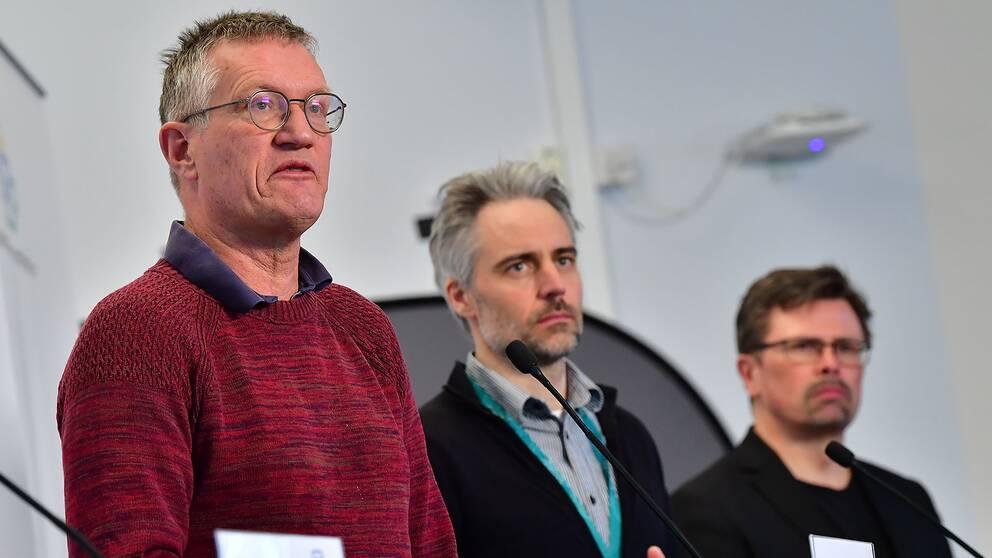 Statsepidemiolog Anders Tegnell, Anders Wallensten Folkhälsomyndigheten och Svante Werger, MSB vid torsdagens pressträff