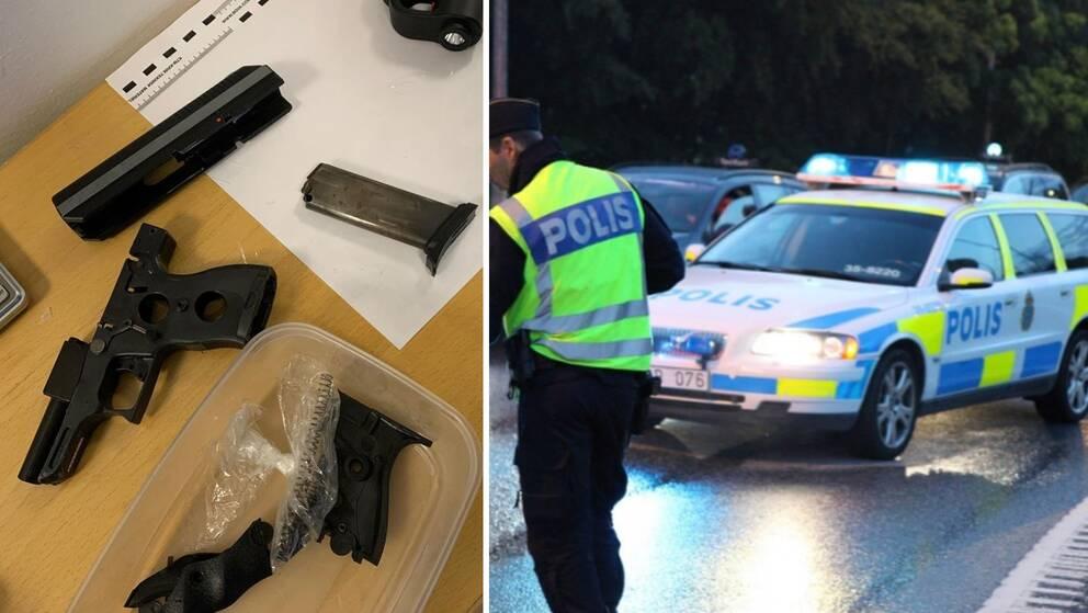 vapen på ett bord, polisbil vid kontroll