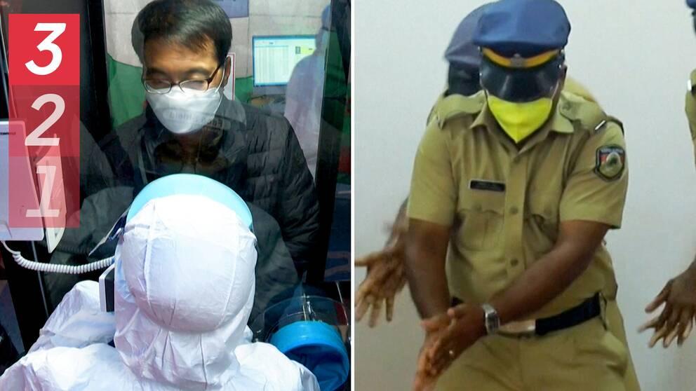 En bild på person i Sydkorea som undersöks genom en glasvägg och en annan bild på indiska poliser som dansar medan de visar hur man ska tvätta händerna.