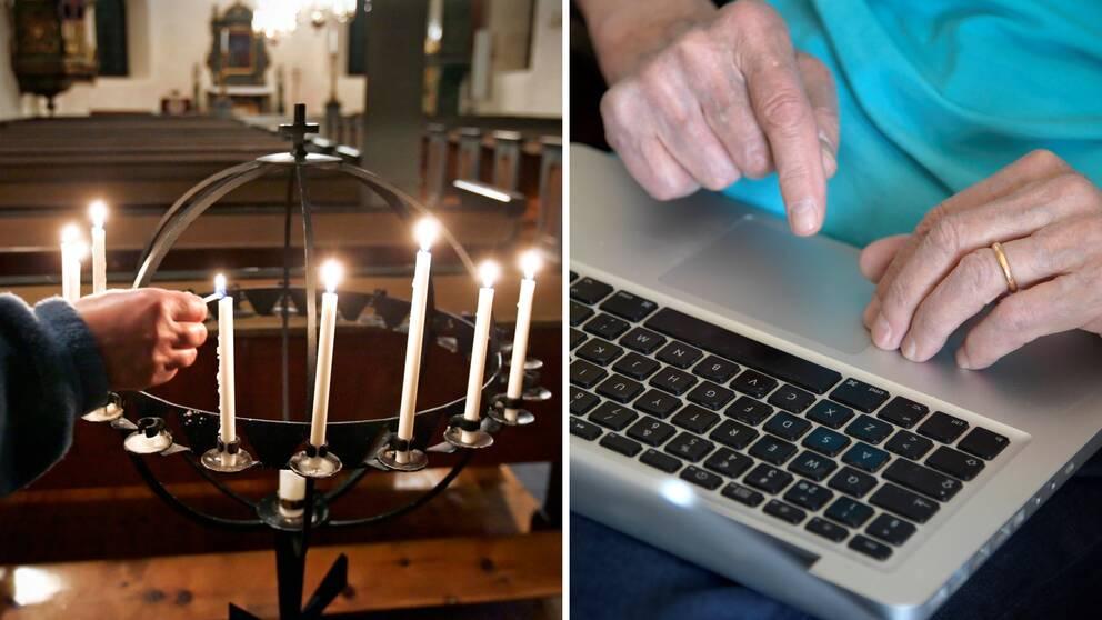 Delad bild på en som tänder ljus i en kyrka, och en som sitter vid sin dator.