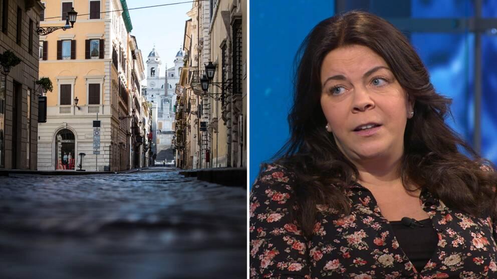 Till vänster: folktom gata i Italien. Till höger: Jennifer Wegerup, SVT:s Italienkorrespondent.