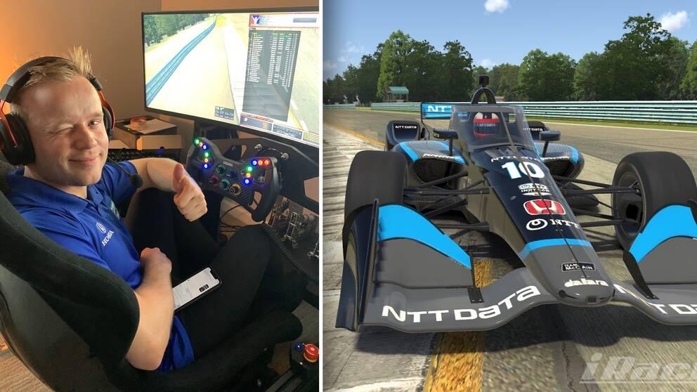Felix Rosenqvist gör tummen upp framför sin simulator.
