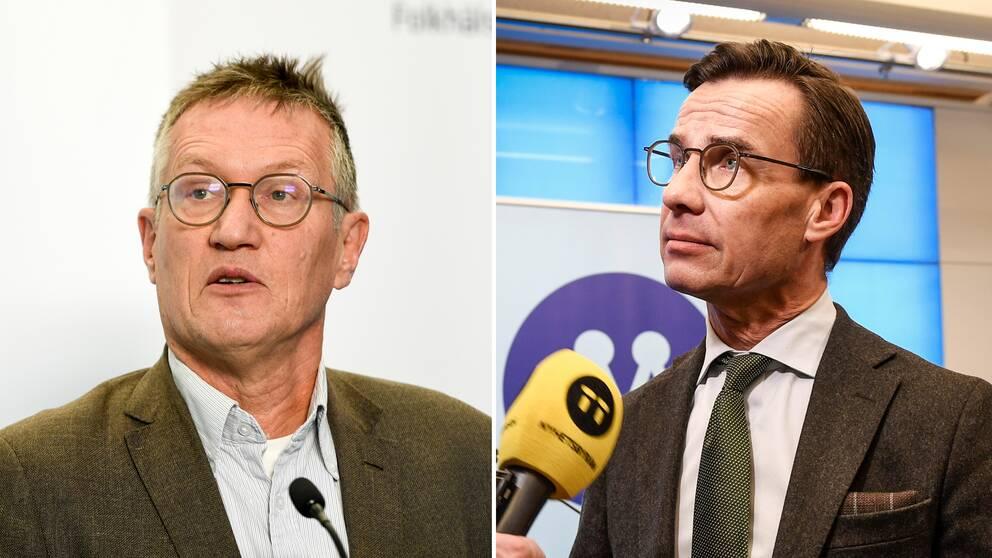 Folkhälsomyndighetens statsemidemiolog Anders Tegnell och Moderaternas partiledare Ulf Kristersson.
